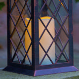 Outdoor Battery Operated Lattice Lantern with Timer