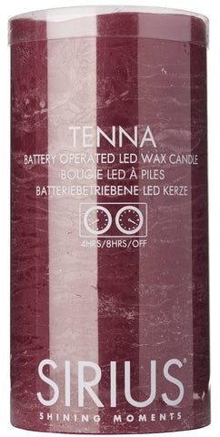 Tenna Real Wax Rustic Pillar with 4/8 Hour Timer, Raspberry (3 sizes)