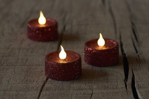Glitter Tea light, Scarlet (6 pack)