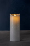 Sara Large Real Wax Rustic Pillar with 8 Hour Timer, Ash (3 sizes)