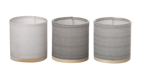 Paper, Glass, Wood and Leather Tealight Holder (3 pack) Grey - style 1