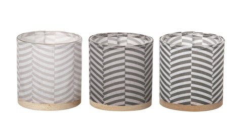 Paper, Glass, Wood and Leather Tealight Holder (3 pack) Grey - style 2