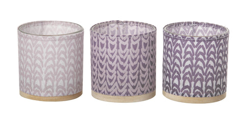 Paper, Glass, Wood and Leather Tealight Holder (3 pack) Lilac