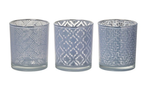 Glass Geometric Tealight Holder (3 pack) Lilac