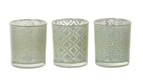 Glass Geometric Tealight Holder (3 pack) Green