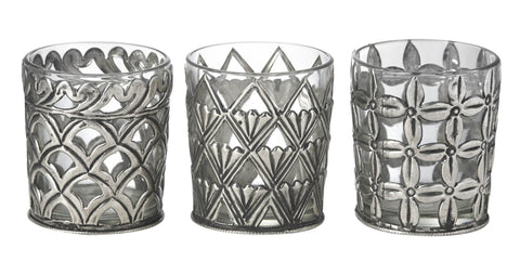 Glass Historic Design Tealight Holder (3 pack)