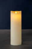 NEW: Sara Exclusive Large Real Wax Rustic Pillar with Optional 2/4/6/8 Hour Timer, Almond (3 sizes)