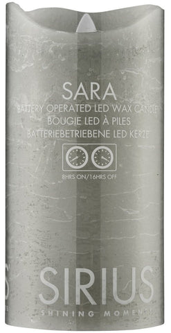 Sara Real Wax Rustic Pillar with 4/8 Hour Timer, Ash (3 sizes)