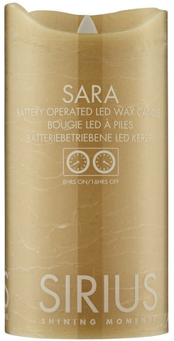 Sara Real Wax Rustic Pillar with 4/8 Hour Timer, Caramel (3 sizes)