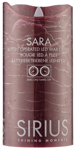 Sara Real Wax Rustic Pillar with 4/8 Hour Timer, Raspberry (3 sizes)