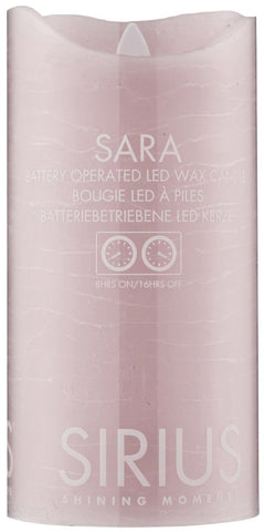 Sara Real Wax Rustic Pillar with 4/8 Hour Timer, Blush (3 sizes)