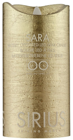 Sara Real Wax Rustic Pillar with 4/8 Hour Timer, Gold (3 sizes)