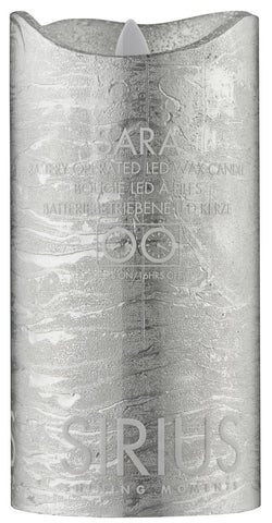 Sara Real Wax Rustic Pillar with 4/8 Hour Timer, Silver (3 sizes)