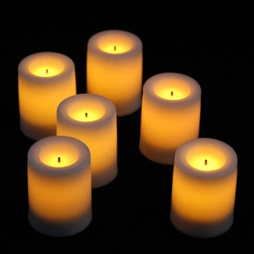Candle Impressions 1.75'' Wax Covered Votives White (6 Pack) illuminated