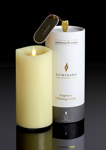 NEW: Real Flame Effect Fragrance Diffusing Pillar with Remote Control, Ivory (22.5cm x 10cm)