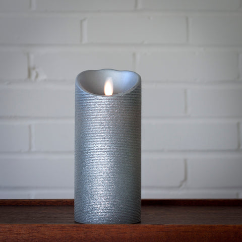 Real Wax Pillar with Moving Flame & 5 Hour Timer, Silver (2 sizes)