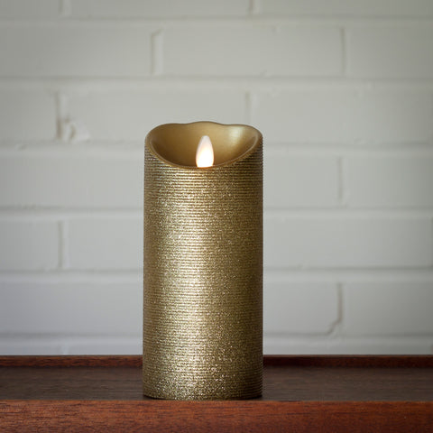 Real Wax Pillar with Moving Flame & 5 Hour Timer, Gold (2 sizes)