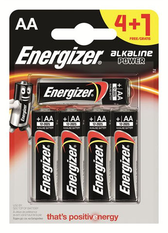 Energizer® Alkaline Power Battery AA (4+1 Free)