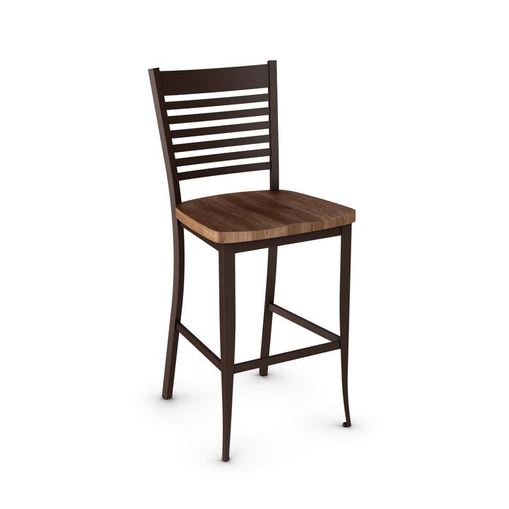 Edwin non swivel stool (Distressed solid wood seat)