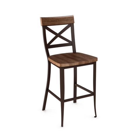 Kyle non swivel stool (distressed solid wood seat and accent)
