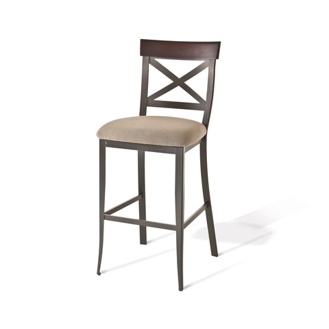 Kyle non swivel stool (upholstered seat and solid or distressed solid wood accent)