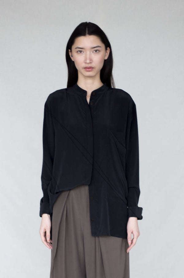 Banded Collar Shirt : Black : Ready To Ship