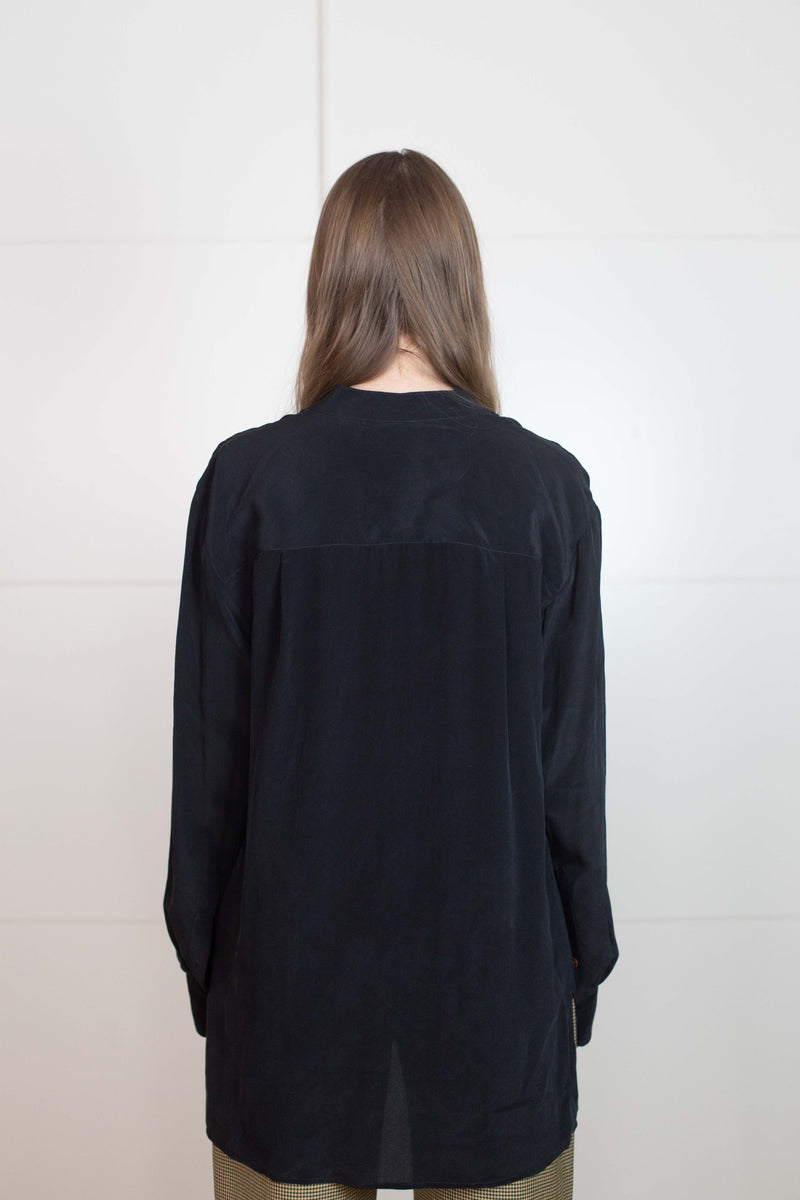 Banded Collar Shirt : Black - Vincetta