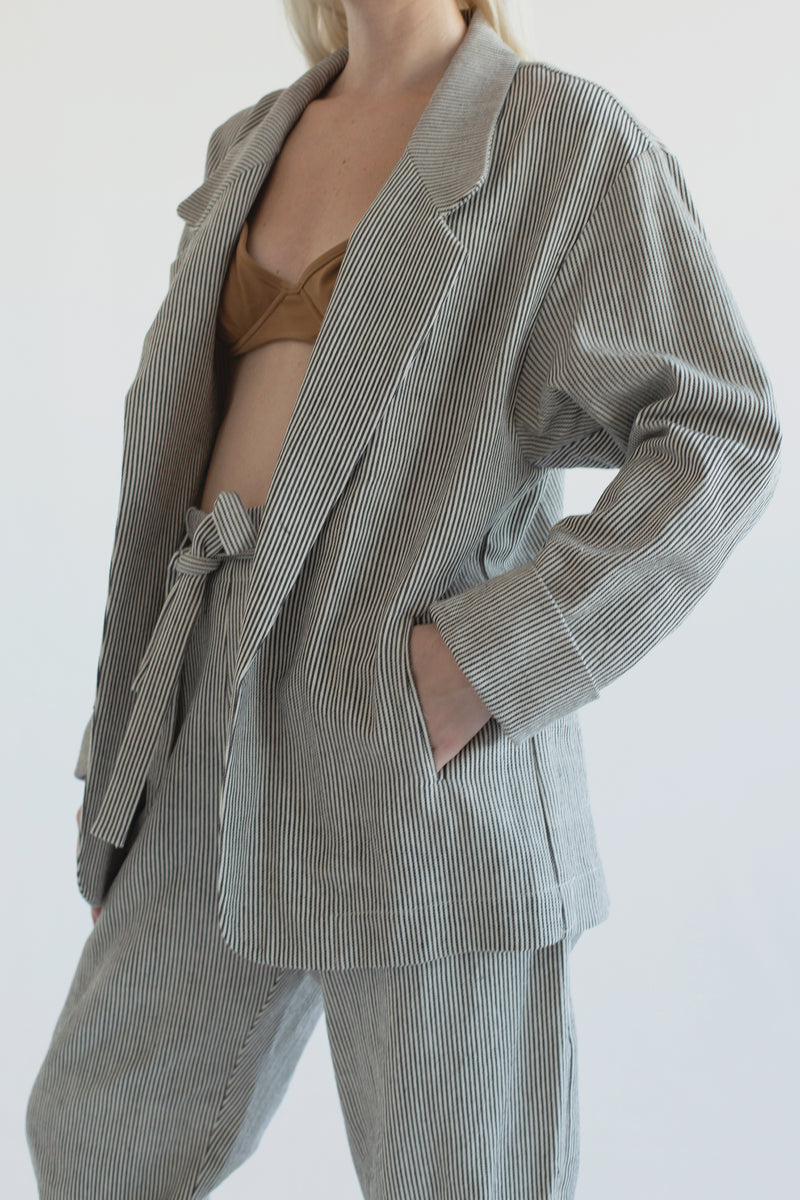 Organic Cotton Blazer : Handwoven Stripe
