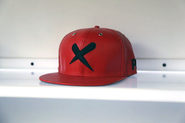X-Label Leather Snapback Red
