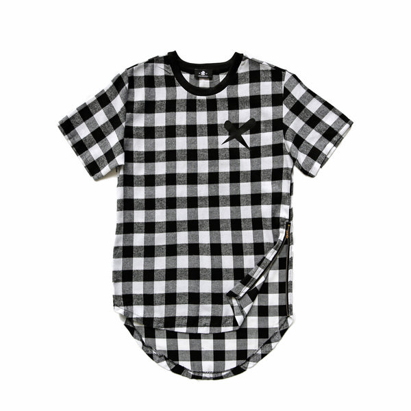 X-Label Black Plaid Zipper Tee