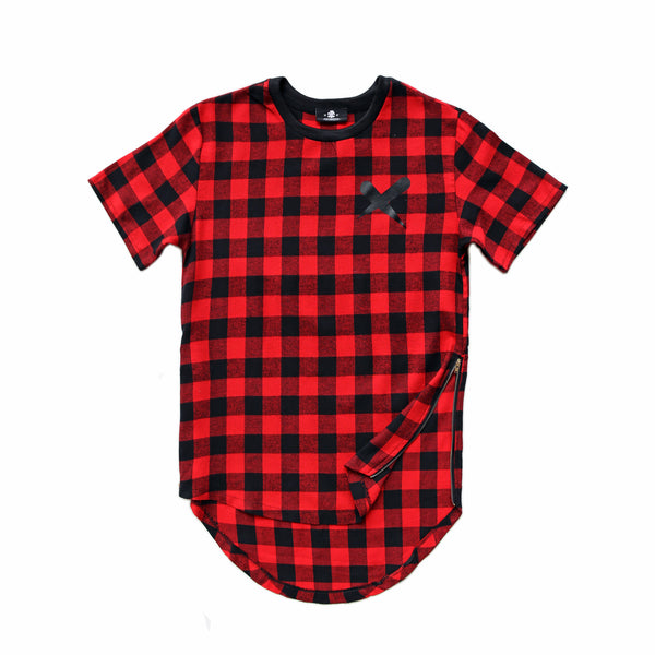 X-Label Red Plaid Zipper Tee