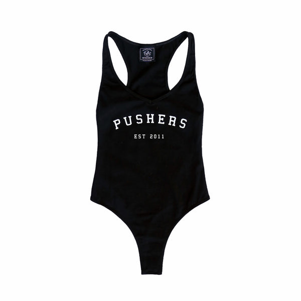 Pushers Cotton Thong Bodysuit Black
