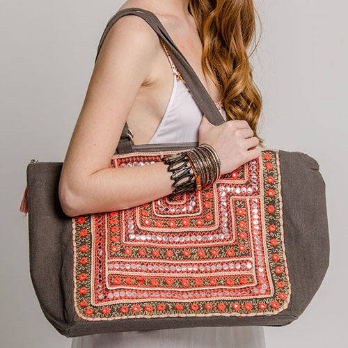 MOROCCAN MIRRORED TOTE - GREY/CORAL