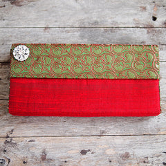 RAW SILK BOX CLUTCH FROM INDIA