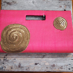HAND-DISTRESSED SILK CLUTCH FROM INDIA