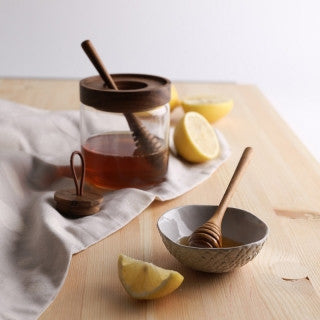 TEAK HONEY JAR AND STICK