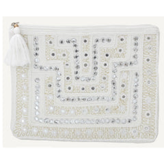 MOROCCAN MIRRORED CLUTCH - WHITE/SILVER