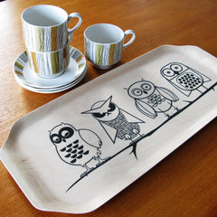 Scandinavian Birchwood Tray - Night Owl