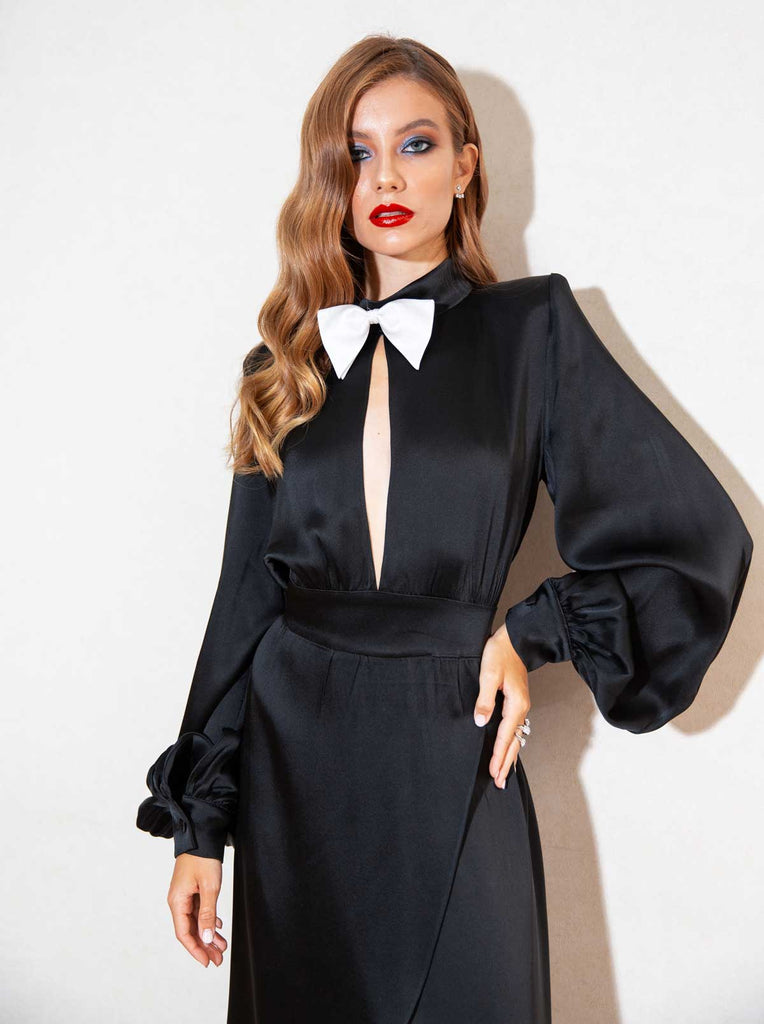 March VIII Black Satin Bow Tie Maxi Gown
