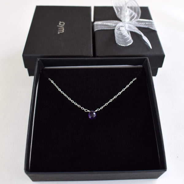 Amethyst Briolette Necklace in Gift Box - aymcollections
