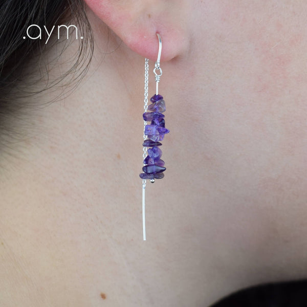 Amethyst Crystal Chain Threader Earrings - aymcollections