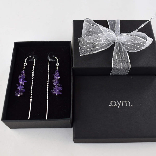 Amethyst Crystal Chain Threader Earrings in Gift Box - aymcollections