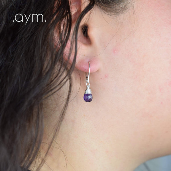 Amethyst Leverback Earrings - aymcollections
