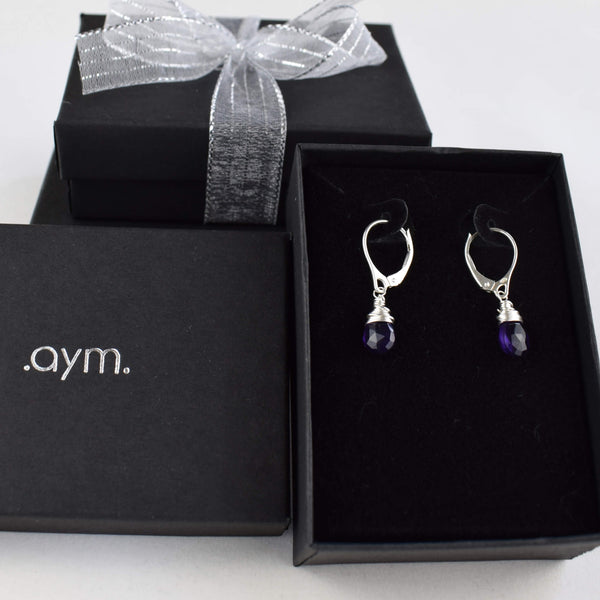Amethyst Leverback Earrings in Gift Box - aymcollections