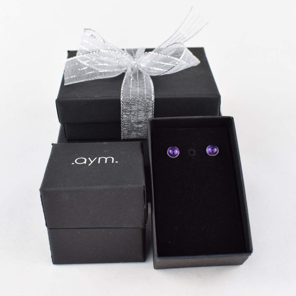 Amethyst Stud Earrings in Gift Box - aymcollections