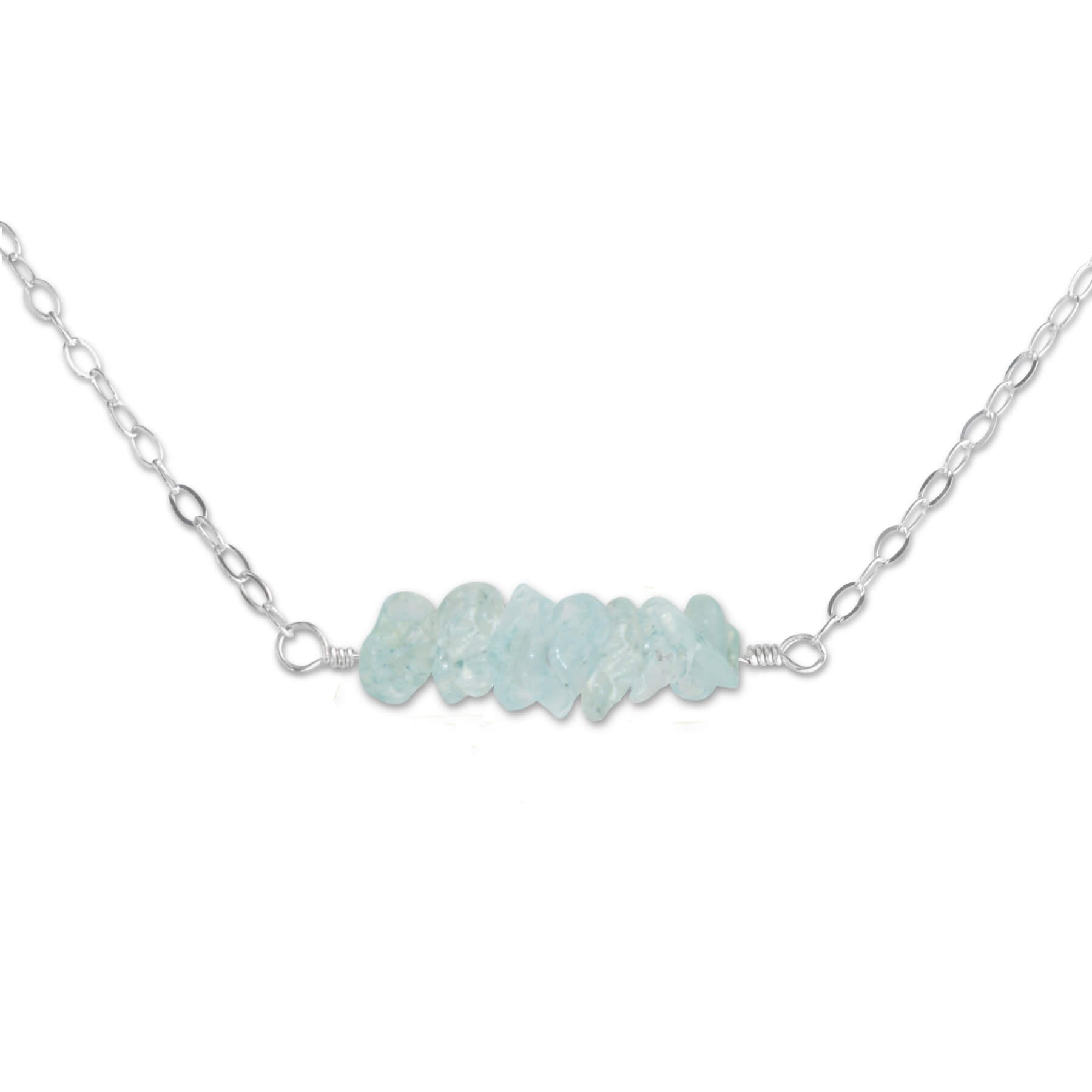 Aquamarine Crystal Bar Necklace - aymcollections