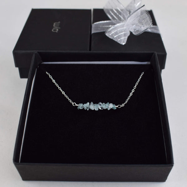 Aquamarine Crystal Bar Necklace in Gift Box - aymcollections
