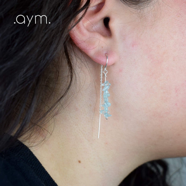 Aquamarine Crystal Chain Threader Earrings - aymcollections