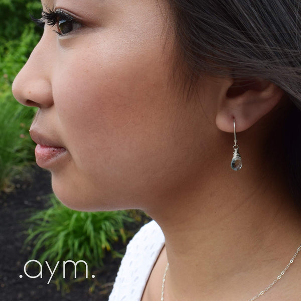 Aquamarine Leverback Earrings - aymcollections