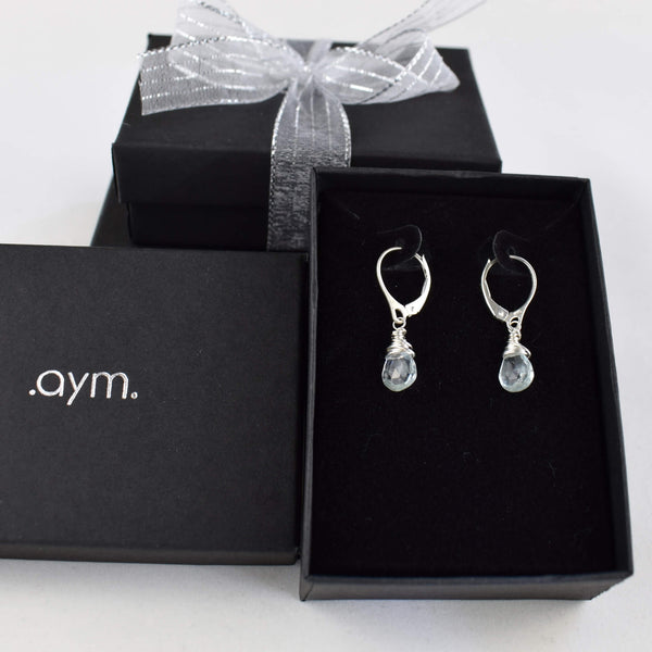 Aquamarine Leverback Earrings in Gift Box - aymcollections